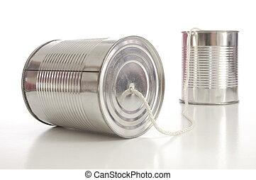 téléphone, boîte en fer-blanc