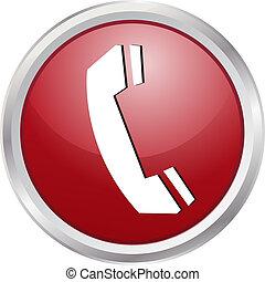 téléphone, bouton, 3d