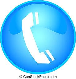 téléphone, bouton, bleu