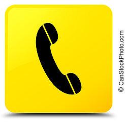 téléphone, bouton, carrée, jaune, icône