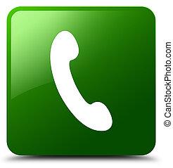 téléphone, bouton, carrée, vert, icône