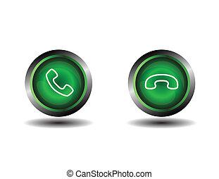 téléphone, bouton, contact, icône