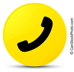 téléphone, bouton, rond, jaune, icône
