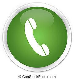téléphone, bouton, vert, icône
