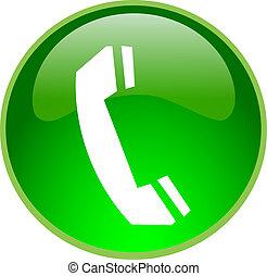 téléphone, bouton, vert