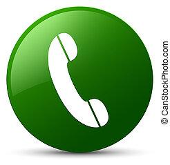 téléphone, bouton, vert, rond, icône