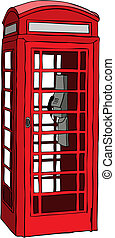 téléphone, britannique, rouges, cabine