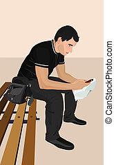 téléphone., brunet, jeune, illustration, homme