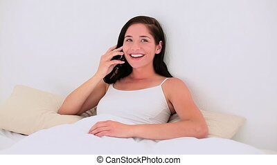 téléphone, brunette, séduisant, parler