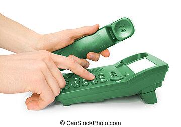 téléphone bureau, à, mains