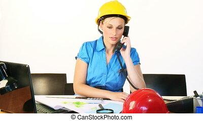 téléphone, bureau, architecte, femme