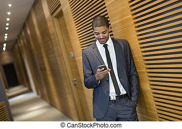 téléphone, bureau, homme affaires