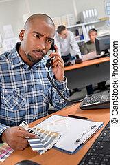 téléphone, bureau, homme