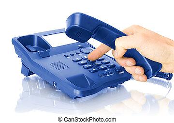 téléphone, bureau, main