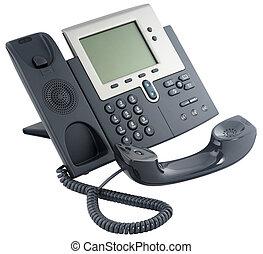 téléphone bureau, numérique, ensemble, off-hook
