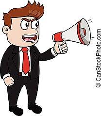 téléphone, business, mega, homme