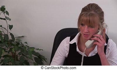 téléphone, business, travail, caucasien, femme