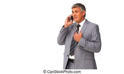 téléphone, businnessman, vieilli, parler, milieu