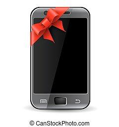téléphone, cadeau, ruban