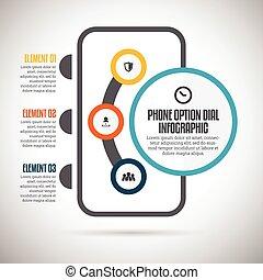 téléphone, cadran, infographic, option