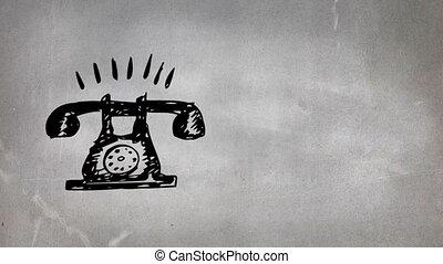 téléphone cadran rotatif, dessin