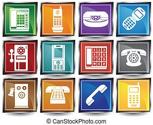 téléphone, cadre, icônes