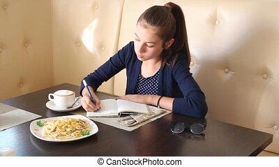 téléphone, café, boire, girl, conversation