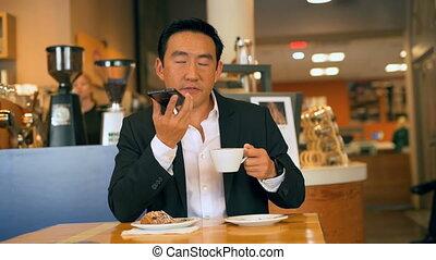téléphone, café, mobile, conversation, quoique, homme affaires, 4k