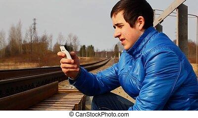 téléphone, cellule, ferroviaire, adolescent
