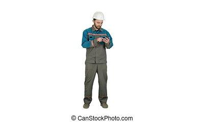téléphone, cellule, ingénieur électrique, envoyer, blanc, message, arrière-plan.