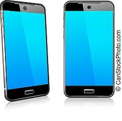 téléphone, cellule, intelligent, mobile, 3d, et, 2d