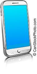 téléphone, cellule, intelligent, mobile, noir, blanc, et, argent, 3d