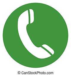 téléphone, cercle, vert, icône