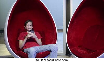 téléphone, chaise, egg-shaped, adolescent, séance