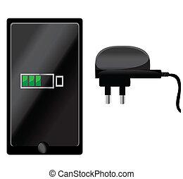 téléphone, chargeur, mobile