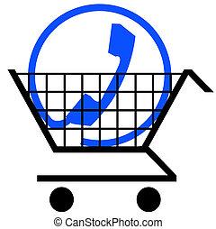 téléphone, charrette, connexion, achats