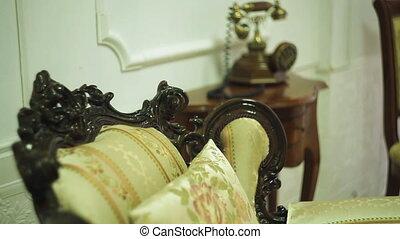 téléphone, chevet, vieux, salle, table