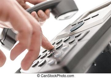 téléphone, closeup, composer, nombre