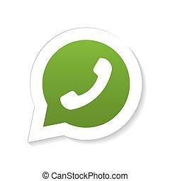 téléphone, combiné, parole, vert, bulle