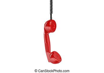 téléphone, combiné, pendre