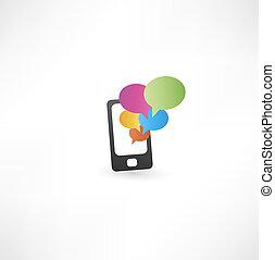 téléphone, communication, bulles, mobile
