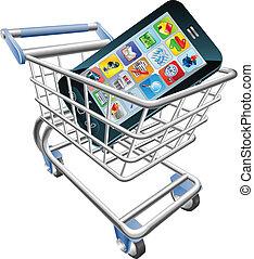 téléphone, concept, achats, intelligent, charrette