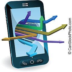 téléphone, concept, flèches