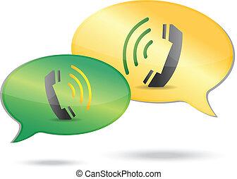 téléphone, concept, illustration, communication