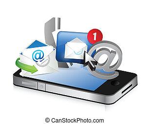 téléphone, concept, nous, contact