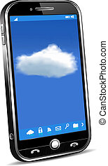téléphone, concept, nuage