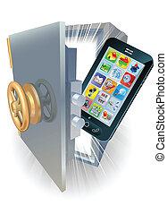 téléphone, concept, protection