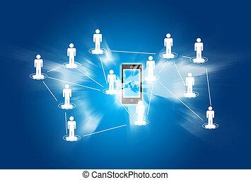 téléphone, concept, réseau, intelligent, social