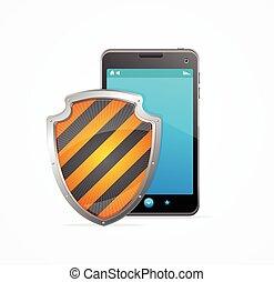téléphone, concept., vecteur, sécurité