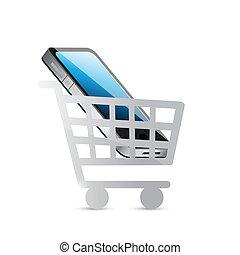 téléphone, conception, chariot, illustration